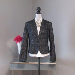 NEW Worthington Black Silver Jacquard Blazer Sz L